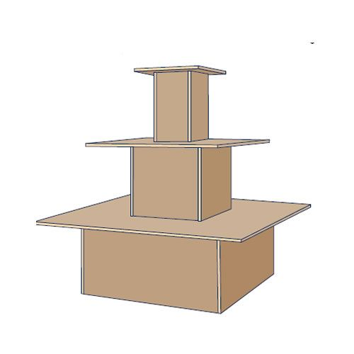 Square 3 Tier Island Display Stand