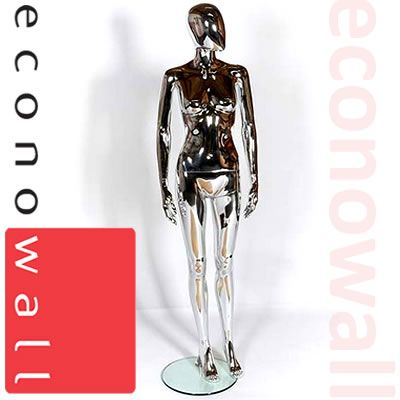 Chrome Female Shop Display Mannequin With Egg Style Head