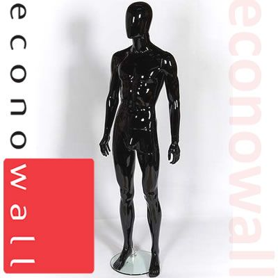 Gloss Black Male Mannequin With Egg Style Head
