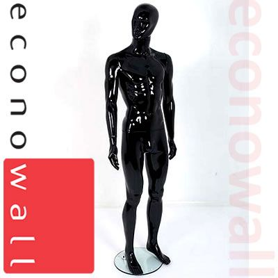 Gloss Black Male Mannequin With Abstract Style Face