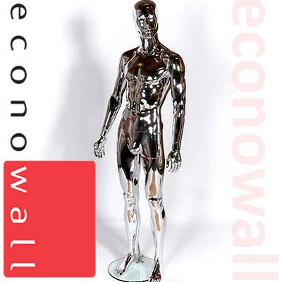 Chrome Male Mannequin With Abstract Style Face