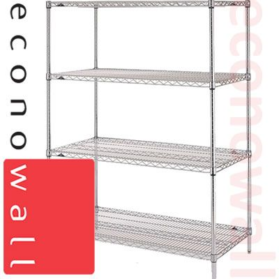 1220H x 915W x 485D Chrome Wire Shop Shelving Unit